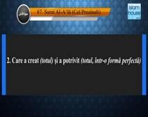 Traducerea sensurilor Surei Al-Aʻlā în limba română, însoţită de recitarea lui Mishari