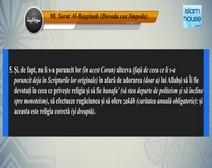 Traducerea sensurilor Surei Al-Bayyinah în limba română, însoţită de recitarea lui Mishari